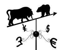 Financial weather vane. With a bull, bear and dollar, euro, pound sterling and yen symbols over white Stock Image
