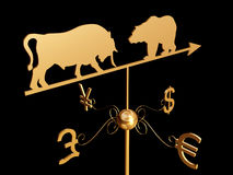 Financial weather vane 3D. Financial weather vane with a bull, bear and dollar, euro, pound sterling and yen symbols Stock Photos
