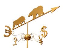 Financial weather vane 3D over white. Financial weather vane with a bull, bear and dollar, euro, pound sterling and yen symbols over white Royalty Free Stock Photography