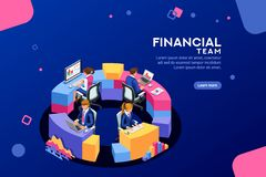 Financial Web Page Consulting Team Template Banner. Project management financial report strategy. Consulting team. Collaboration concept with collaborative stock illustration