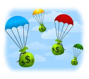 Financial Windfall Parachutes. An illustration featuring a number of parachutes with bags of money floating down from the sky. Wouldn't that be nice Stock Images
