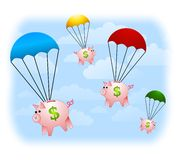 Financial Windfall Piggybanks. An illustration featuring a number of parachutes with piggybanks floating down from the sky. Wouldn't that be nice Royalty Free Stock Photo