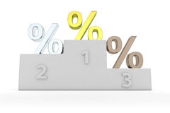 Financial winners. Golden, silver and bronze percentage symbols on the winner's pedestal Stock Images
