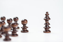 Financial wood chess situation. Financial wood graph with white background Royalty Free Stock Photography
