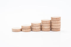 Financial wood graph. Small wood graph on white background Royalty Free Stock Photo