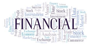 Financial word cloud. Wordcloud made with text only royalty free illustration