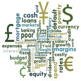 Financial word graphic. A money and financial themed word graphic Royalty Free Stock Image