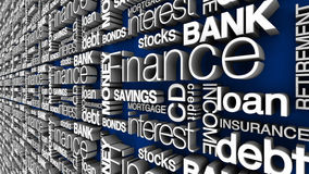 Financial Words. This high resolution financial words and terms verison was rendered using global illumination, white lettering and a blue background. Alternate Royalty Free Stock Photography