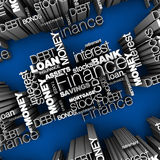 Financial Words 3D. Illustration. Various financial terms in 3D on blue background Royalty Free Stock Photo