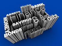 Financial Words 3D Blue. 3D illustration of various financial words on blue background Stock Image