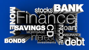 Financial Words 3D Blue. 3D illustration of various financial words on blue background Royalty Free Stock Image
