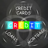 Financial Words Displays Credit Mortgage Banking and Loans. Financial Words Displaying Credit Mortgage Banking and Loans Stock Image