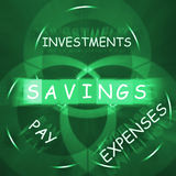 Financial Words Displays Savings Investments Paying and Expenses Royalty Free Stock Photo