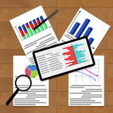 Financial work with charts and infographic. Analytics vector graph and annual result illustration Stock Photo