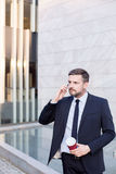 Financial worker in suit Stock Images
