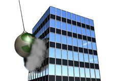 Financial Wrecking Ball on White. A giant wrecking ball with a huge green dollar sign on it is smashing, destroying a financial institution or office building! Royalty Free Stock Photos