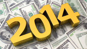 Financial year 2014. Golden 2014 on the background of one hundred dollar bills Royalty Free Stock Photo