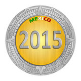Financial Year Mexico. One Mexican Peso Coin with a year written inside it Stock Images
