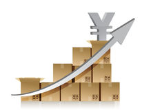 Financial yen box graph illustration design over Royalty Free Stock Photo