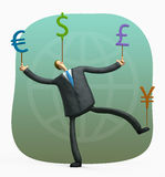 Financial yoga. Color cartoon illustration businessman juggling currency Stock Photography