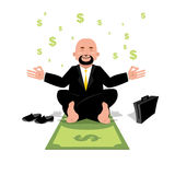 Financial yoga. Businessman meditating on money. Man sitting on Royalty Free Stock Images