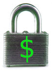 Financially Secure. Isolated pad lock with green dollar sign Royalty Free Stock Photo