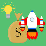 Financially successful launch start up idea. Business start, vector illustration Stock Photos