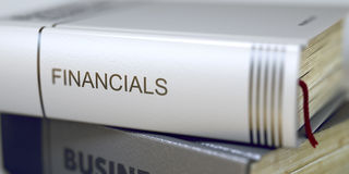 Financials Concept on Book Title. 3D. Royalty Free Stock Photography