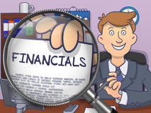 Financials through Magnifying Glass. Doodle Style. Financials on Paper in Businessman's Hand through Magnifying Glass to Illustrate a Business Concept Stock Photos