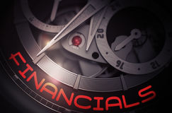 Financials on the Mechanical Wrist Watch Mechanism. 3D. Luxury Wristwatch with Financials Inscription on Face. Financials - Black and White Closeup of Royalty Free Stock Photos