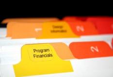 Financials van het programma Stock Foto