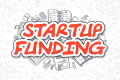 Financiamento Startup - inscrição do vermelho dos desenhos animados Conceito do negócio ilustração royalty free