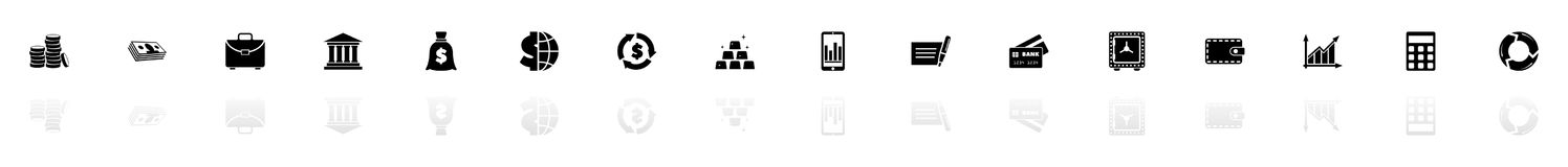 Financical - Flat Vector Icons. Financical icons - Black horizontal Illustration symbol on White Background with a mirror Shadow reflection. Flat Vector Icon Royalty Free Stock Photos