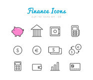 Financical icons set Stock Photos