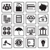 Financie ícones Imagens de Stock Royalty Free