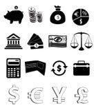 Financie ícones Fotografia de Stock Royalty Free