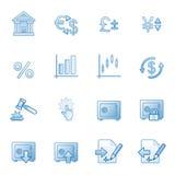 Financie ícones do Web, série azul Imagens de Stock Royalty Free