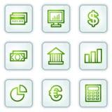 Financie ícones do Web, série das teclas do quadrado branco ilustração do vetor