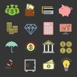 Financie ícones Foto de Stock Royalty Free