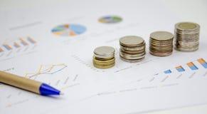 Financie el fondo con datos del mercado y el baño tailandés Imágenes de archivo libres de regalías