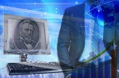Financie el fondo con el dinero, los dólares y el ordenador Estafa de las finanzas Imagenes de archivo
