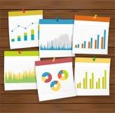 Financie el gráfico de negocio con el pasador en el tablero de madera Imagenes de archivo