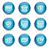 Financie los iconos del Web, serie brillante azul de la esfera Imagen de archivo libre de regalías