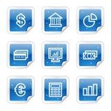 Financie los iconos del Web, serie brillante azul de la etiqueta engomada Fotografía de archivo libre de regalías