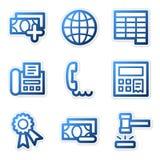 Financie os ícones 2, contorno azul   Foto de Stock