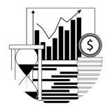 Financieel analyseer de groei lineair pictogram vector illustratie