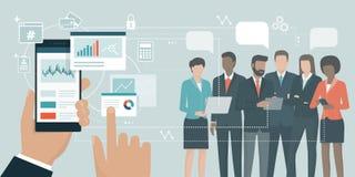 Financieel app en commercieel team royalty-vrije illustratie
