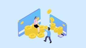 Financieel Beheer Concept Kan voor Webbanner, infographics, heldenbeelden gebruiken Vlakke isometrische elementen vectorillustrat vector illustratie