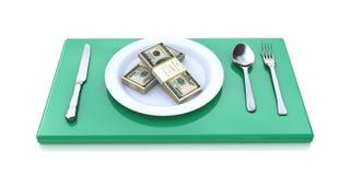 Financieel concept die - die geld eten op witte achtergrond wordt geïsoleerd Stock Afbeeldingen