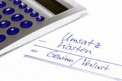 Financieel concept in duitstalig voor inkomens, inkomen en Turkije royalty-vrije stock afbeelding